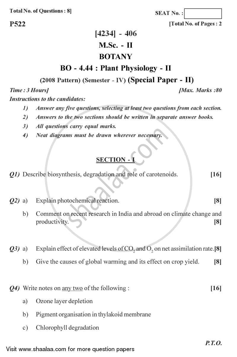 Question Paper - Botany Special Paper - Plant Physiology 2 2012 - 2013 - M.Sc. - Semester 4 - University of Pune