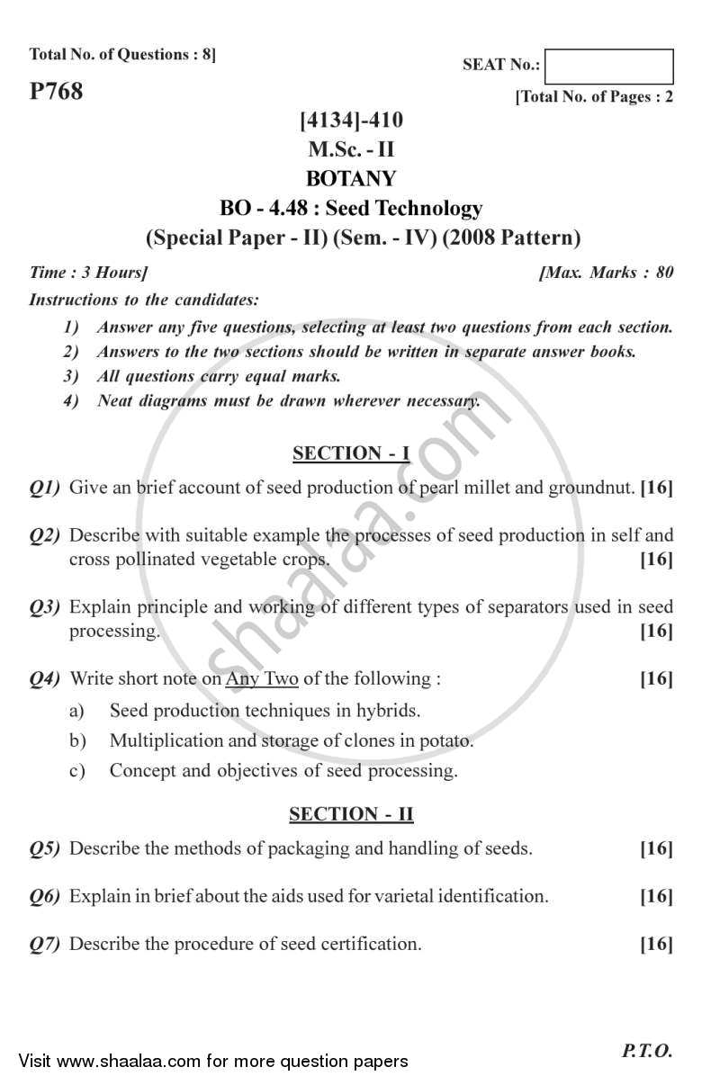 Question Paper - Botany Special Paper - Seed Technology 2 2011 - 2012 - M.Sc. - Semester 4 - University of Pune