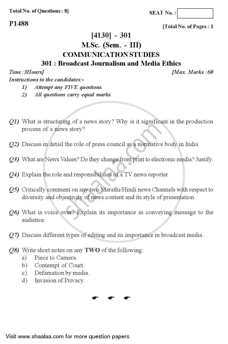 Question Paper - Broadcast Journalism and Media Ethics 2011 - 2012-M.Sc.-Semester 3 University of Pune