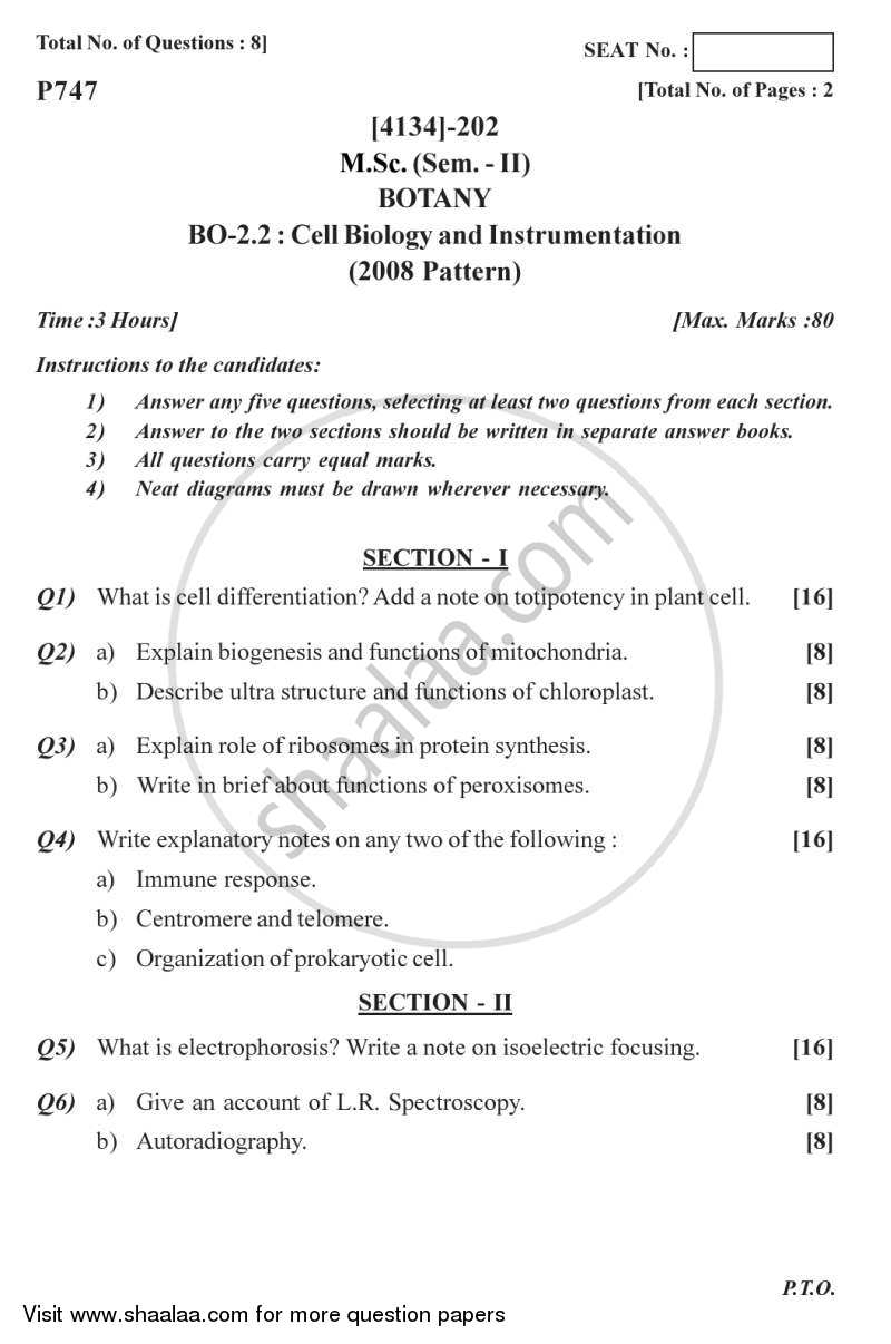 Question Paper - Cell Biology and Instrumentation 2011 - 2012 - M.Sc. - Semester 2 - University of Pune