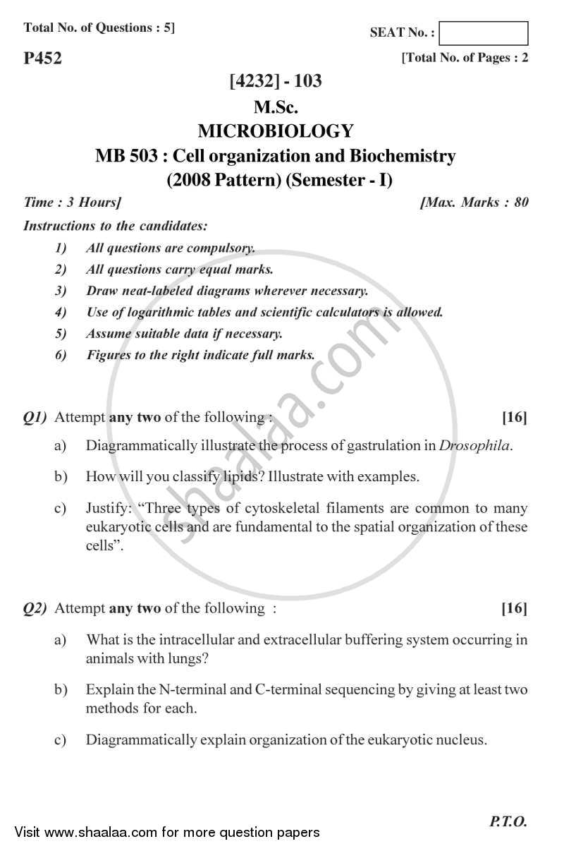 Question Paper - Cell Organization and Biochemistry 2012 - 2013 - M.Sc. - Semester 1 - University of Pune