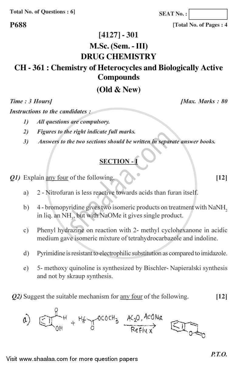 Question Paper - Chemistry of Heterocycles and Biologically Actives Compounds 2011 - 2012 - M.Sc. - Semester 3 - University of Pune