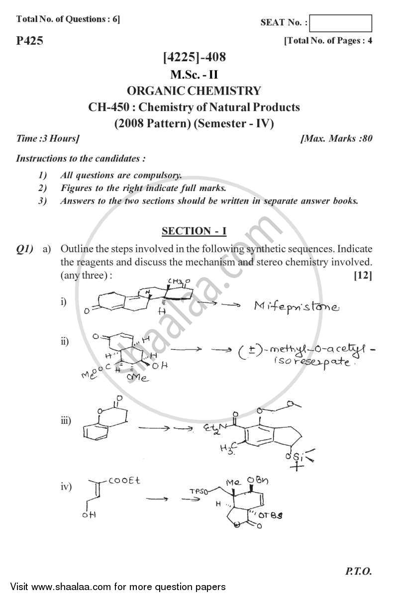 Question Paper - Chemistry of Natural Products 2012 - 2013 - M.Sc. - Semester 4 - University of Pune