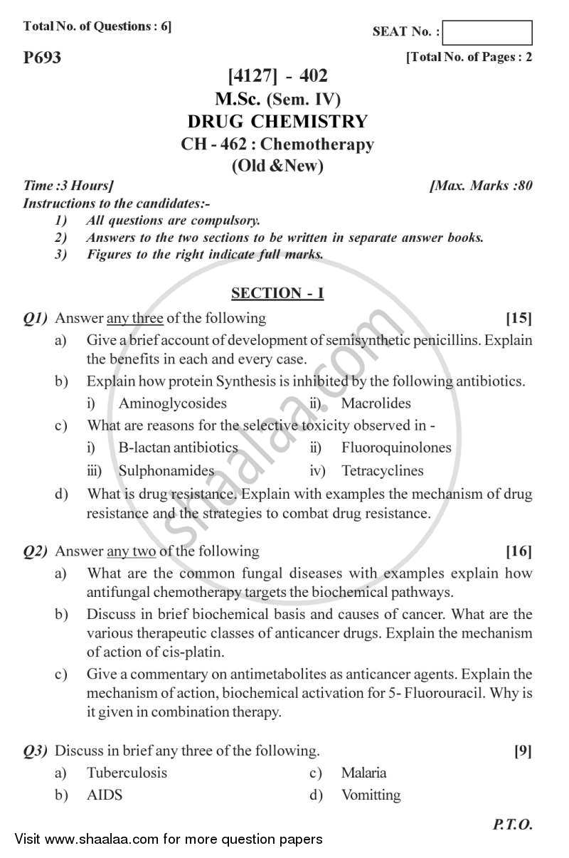 Question Paper - Chemotherapy 2011 - 2012-M.Sc.-Semester 4 University of Pune