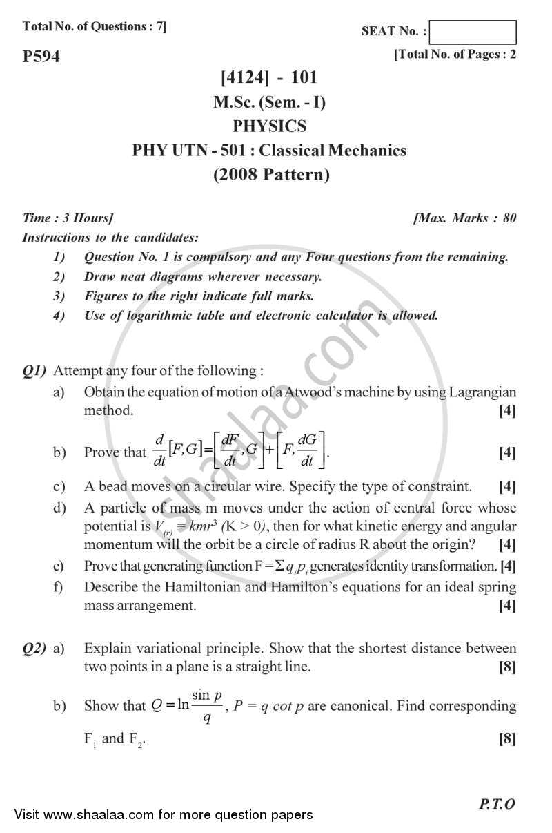 Question Paper - Classical Mechanics 2011 - 2012 - M.Sc. - Semester 1 - University of Pune