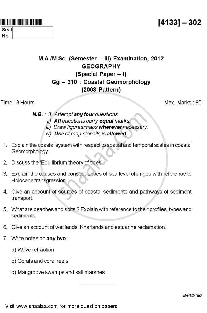 Coastal Geomorphology 2011-2012 - M.Sc. - Semester 3 - University of Pune question paper with PDF download