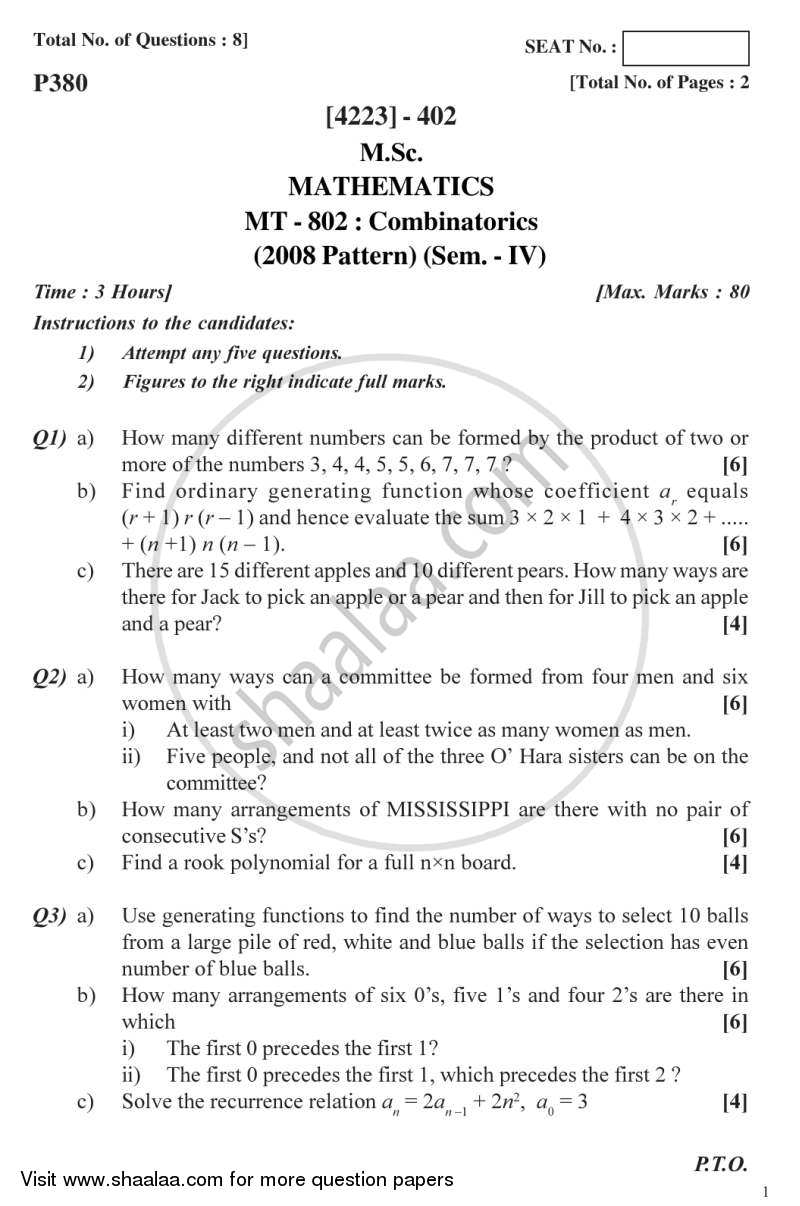 Combinatorics 2012-2013 - M.Sc. - Semester 4 - University of Pune question paper with PDF download