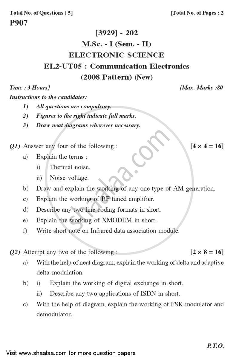 Communication Electronics 2011-2012 - M.Sc. - Semester 2 - University of Pune question paper with PDF download