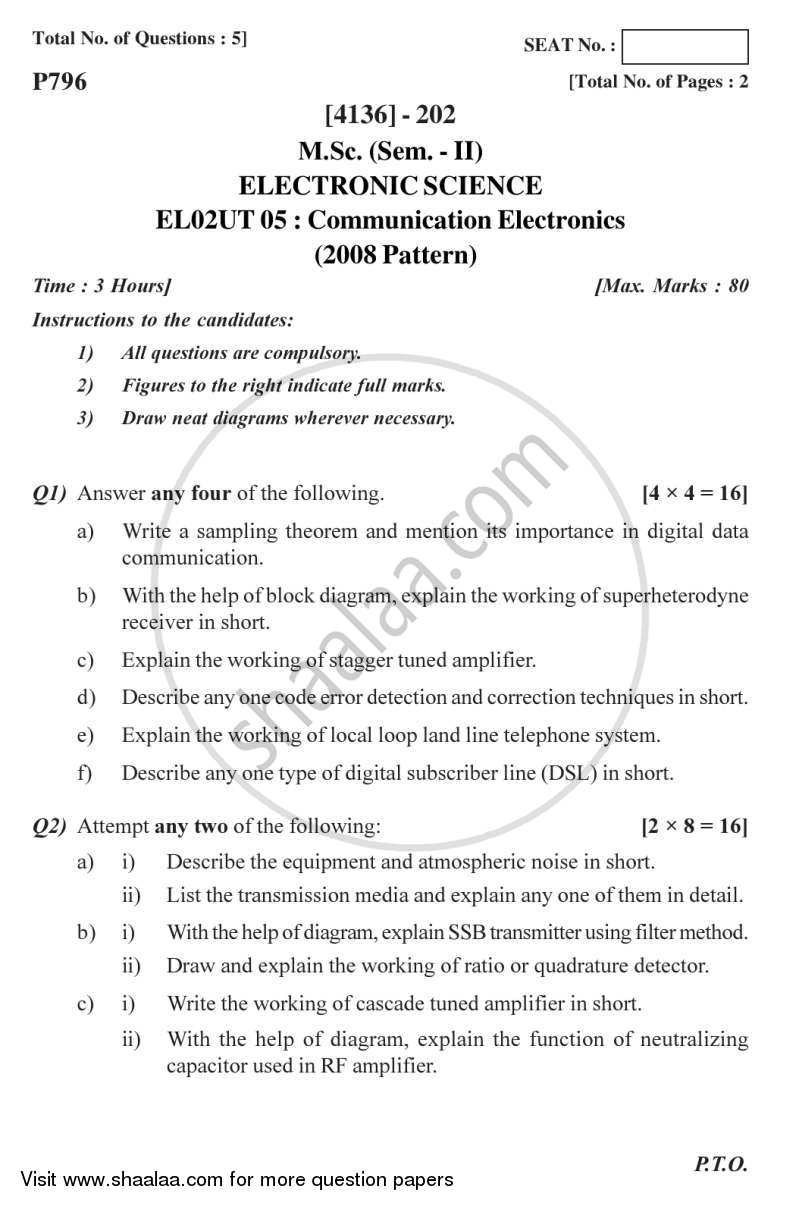 Question Paper - Communication Electronics 2011 - 2012 - M.Sc. - Semester 2 - University of Pune
