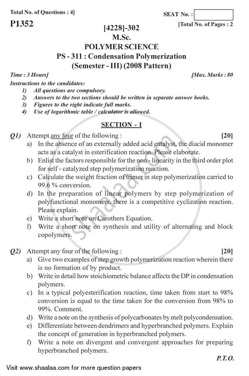 Question Paper - Condensation Polymerization 2012 - 2013 - M.Sc. - Semester 3 - University of Pune
