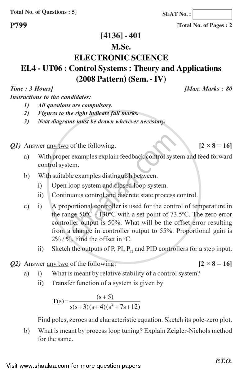 Question Paper - Control Systems 2011 - 2012 - M.Sc. - Semester 4 - University of Pune
