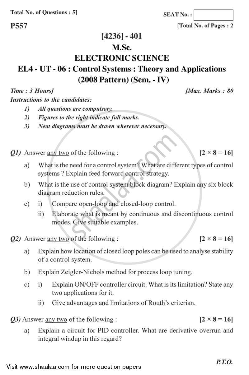 Question Paper - Control Systems 2012 - 2013 - M.Sc. - Semester 4