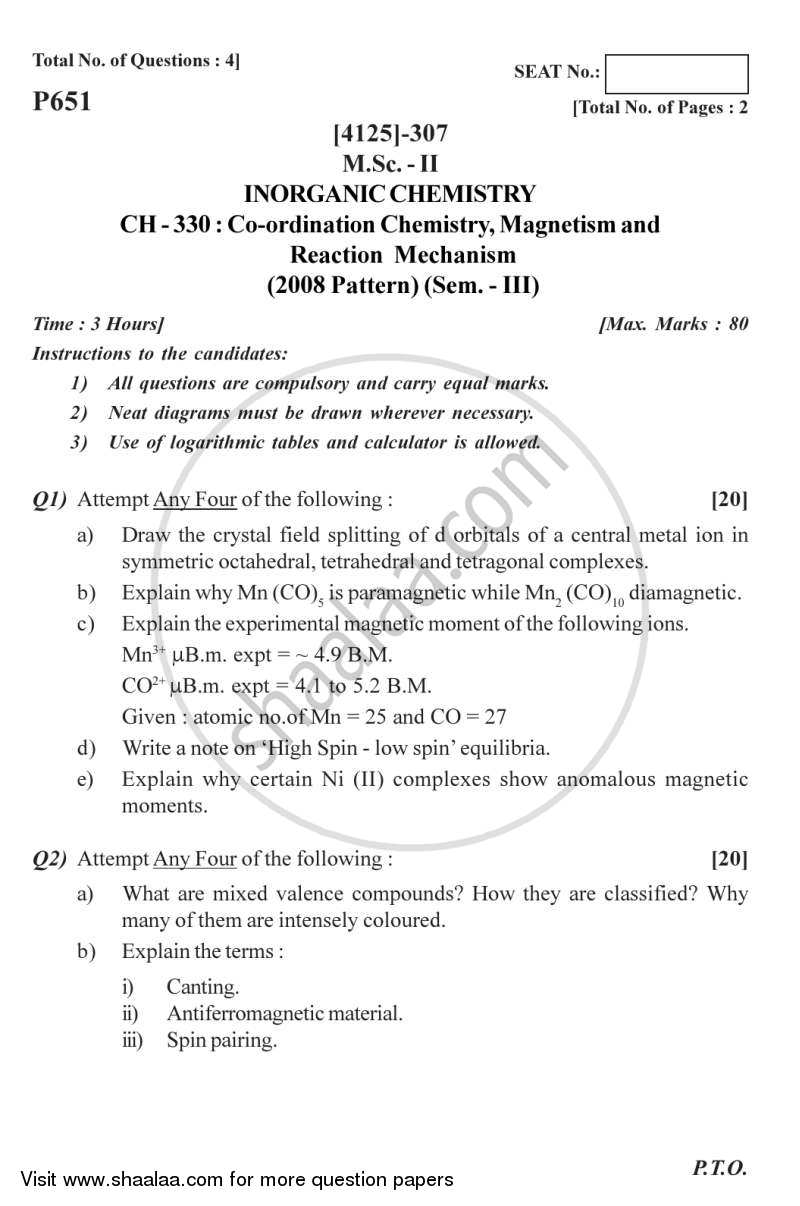 Question Paper - Coordination Chemistry, Magnetism and Reaction Mechanism 2011 - 2012 - M.Sc. - Semester 3 - University of Pune