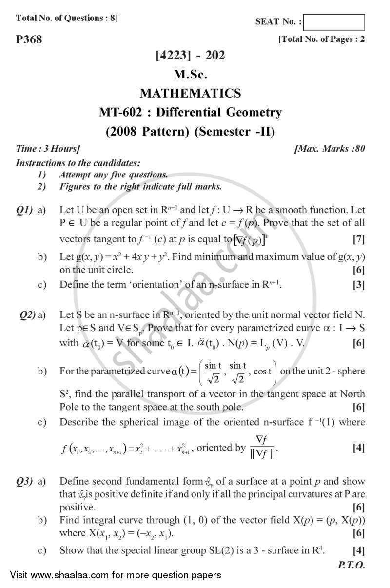 Differential Geometry 2012-2013 M Sc Mathematics Semester 2