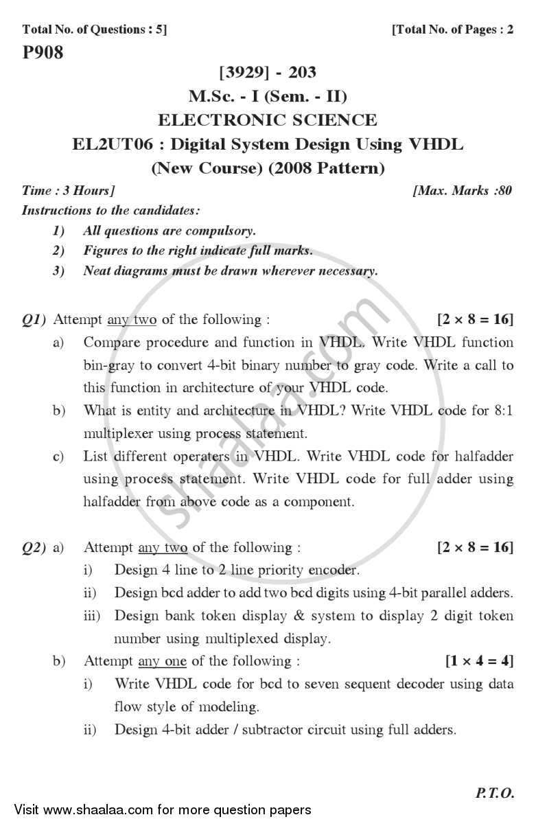 Digital System Design Using Vhdl 2011 2012 M Sc Electronics Semester 2 P908 Question Paper With Pdf Download Shaalaa Com