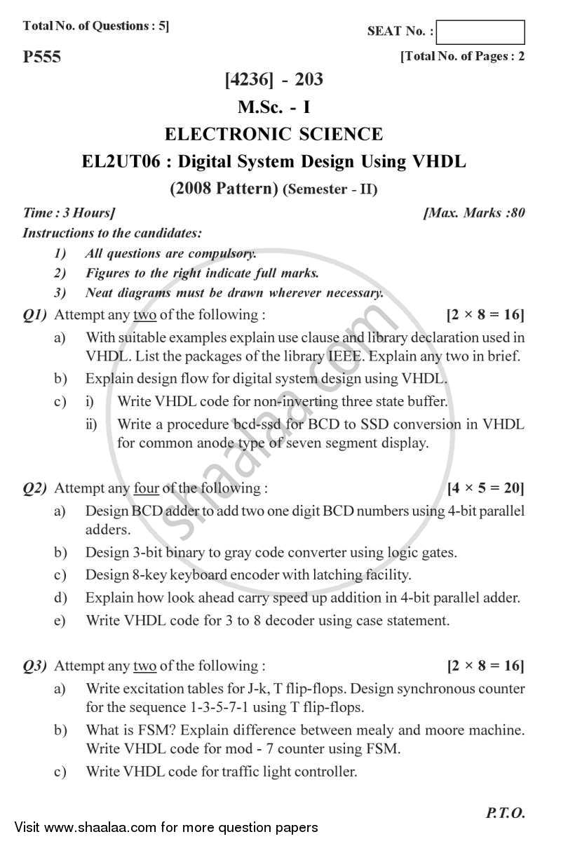 Digital System Design Using VHDL 2012-2013 - M.Sc. - Semester 2 - University of Pune question paper with PDF download