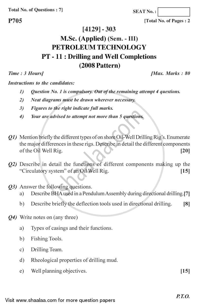 Question Paper - Drilling and Well Completions 2011 - 2012-M.Sc.-Semester 3 University of Pune