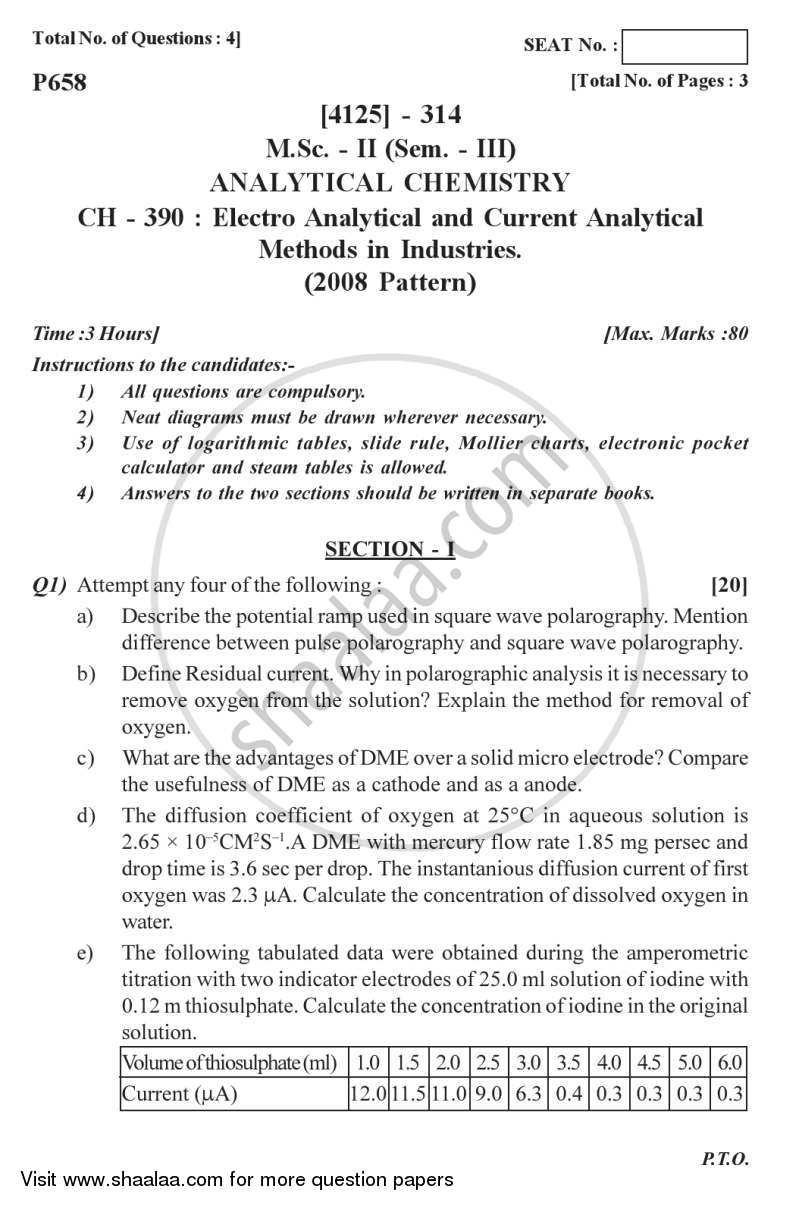 Question Paper - Electro Analytical and Current Analytical Methods in Industries 2011 - 2012 - M.Sc. - Semester 3 - University of Pune