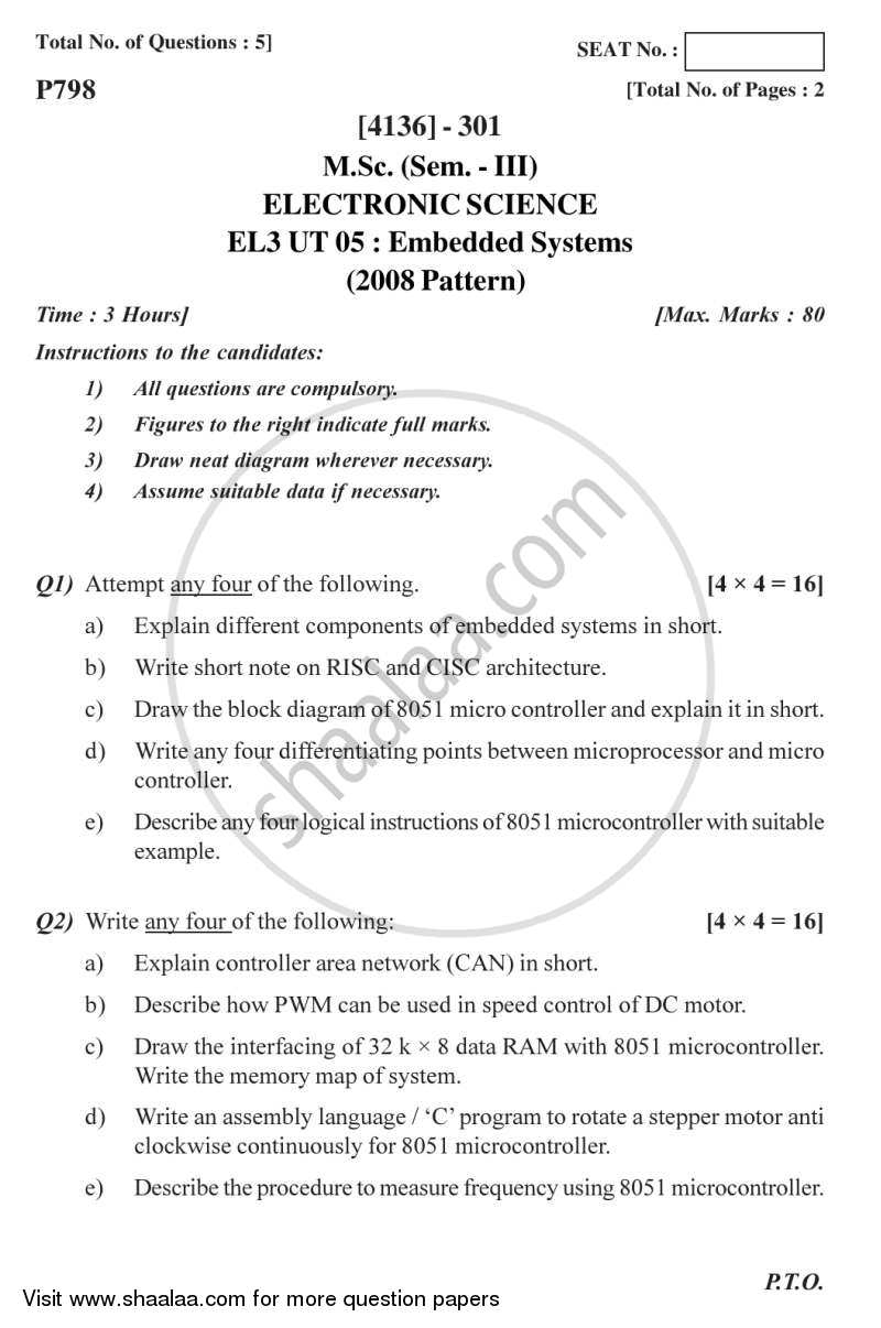 Question Paper - Embedded Systems 2011 - 2012 - M.Sc. - Semester 3 - University of Pune
