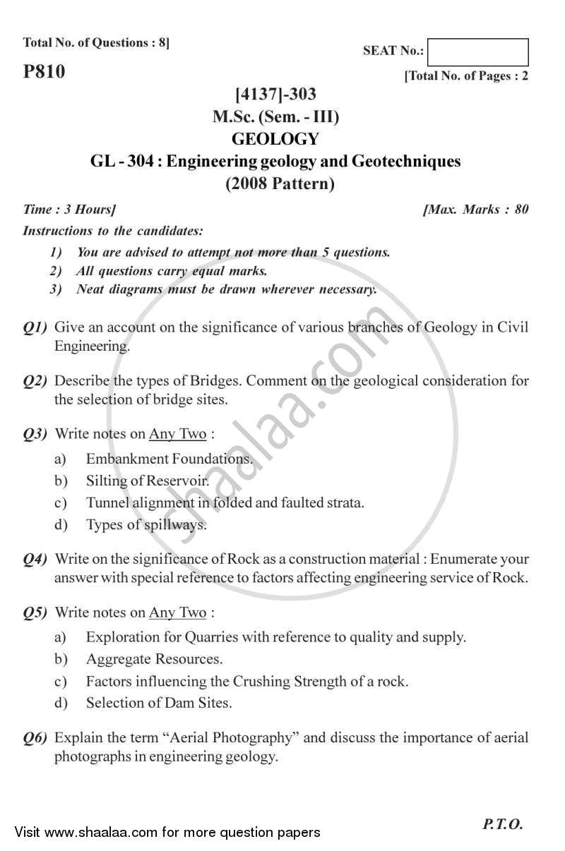 Question Paper - Engineering Geology and Geotechniques 2011 - 2012 - M.Sc. - Semester 3 - University of Pune