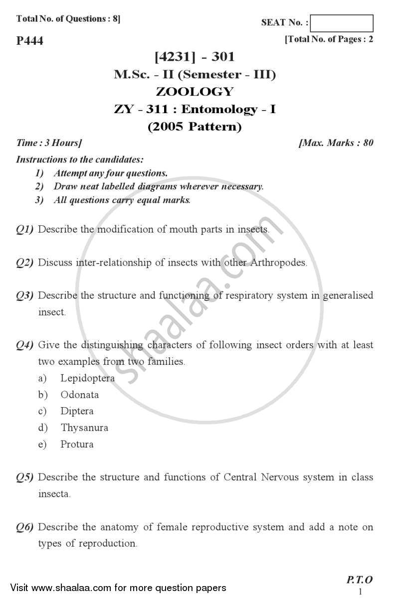 Question Paper - Entomology 1 2012 - 2013-M.Sc.-Semester 3 University of Pune