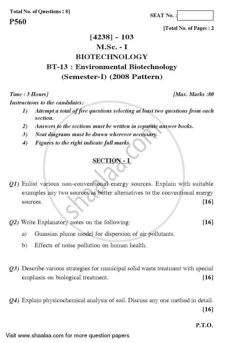 Question Paper - Environmental Biotechnology 2012 - 2013 - M.Sc. - Semester 1 - University of Pune