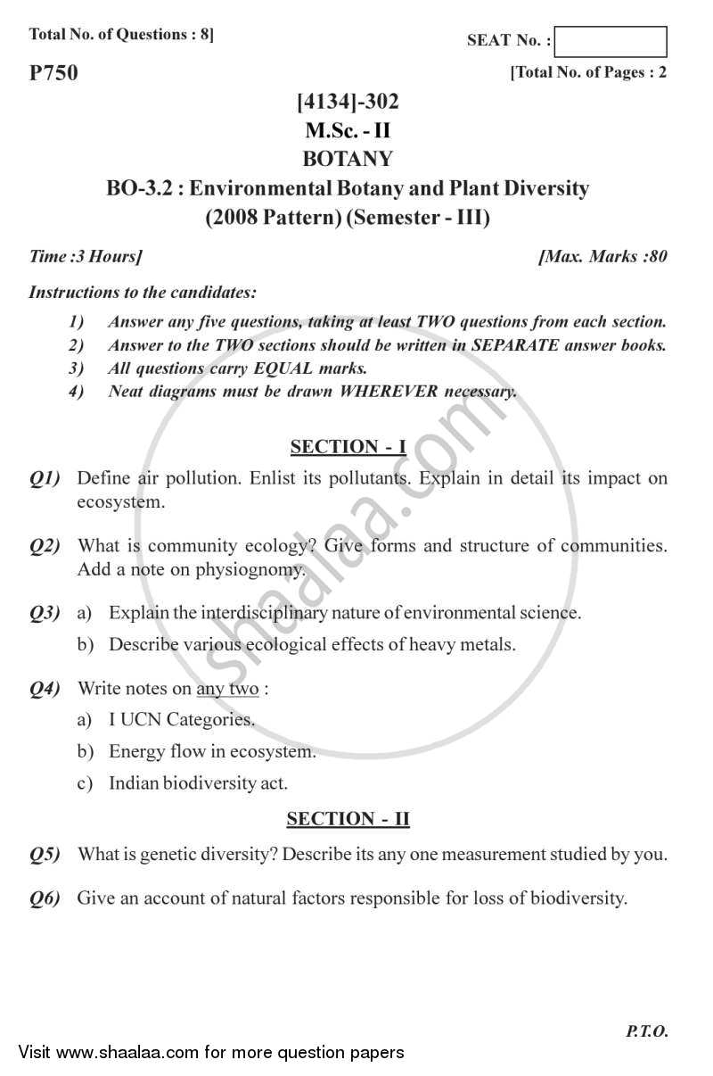 Question Paper - Environmental Botany and Plant Diversity 2011 - 2012-M.Sc.-Semester 3 University of Pune