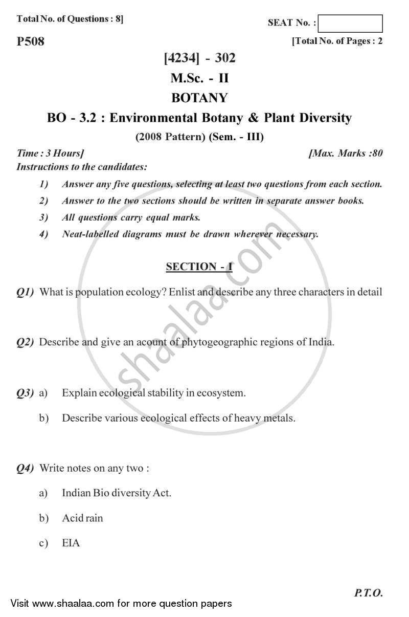 Question Paper - Environmental Botany and Plant Diversity 2012 - 2013 - M.Sc. - Semester 3 - University of Pune