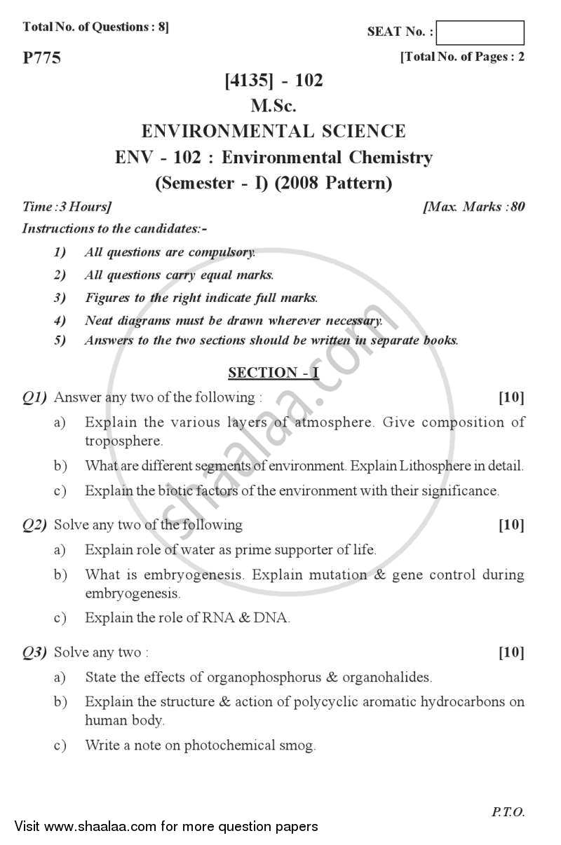 Question Paper - Environmental Chemistry 2011 - 2012 - M.Sc. - Semester 1 - University of Pune