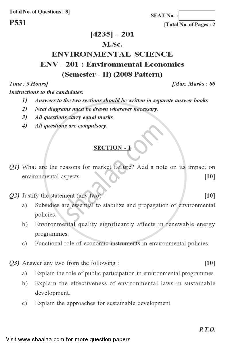 Question Paper - Environmental Economics 2012 - 2013 - M.Sc. - Semester 2 - University of Pune