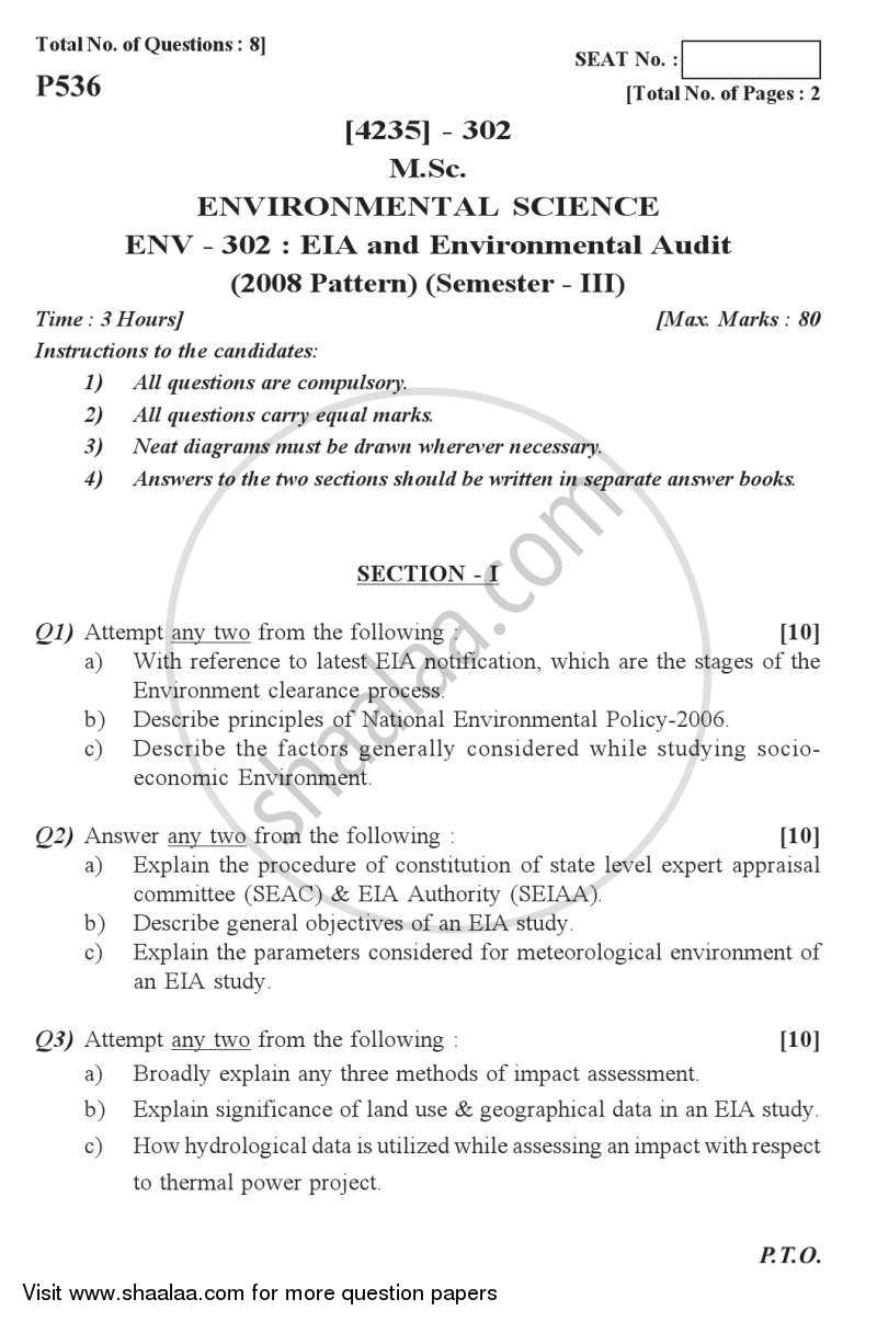 Question Paper - Environmental Impact Analysis (EIA) and Environmental Auditing 2012 - 2013-M.Sc.-Semester 3 University of Pune