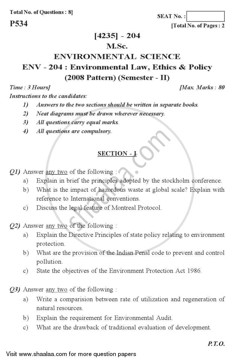 Question Paper - Environmental Law, Ethics and Policy 2012 - 2013 - M.Sc. - Semester 2 - University of Pune