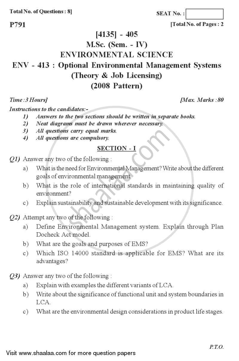 Question Paper - Environmental Management Systems (Theory and Job Licensing) 2011 - 2012 - M.Sc. - Semester 4 - University of Pune