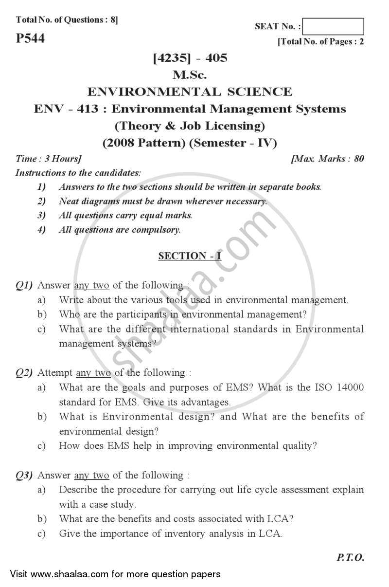 Question Paper - Environmental Management Systems (Theory and Job Licensing) 2012 - 2013 - M.Sc. - Semester 4 - University of Pune