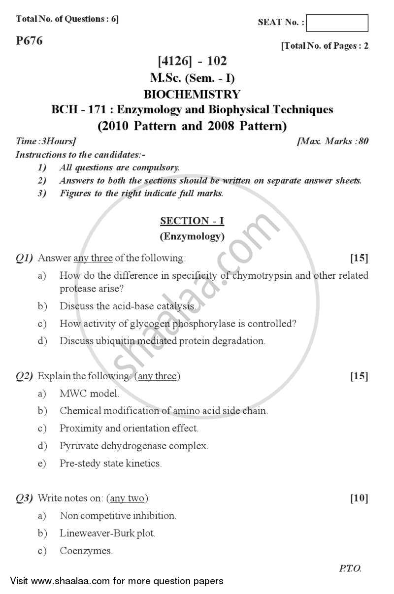 Question Paper - Enzymology and Biophysical Techniques 2011 - 2012 - M.Sc. - Semester 1 - University of Pune