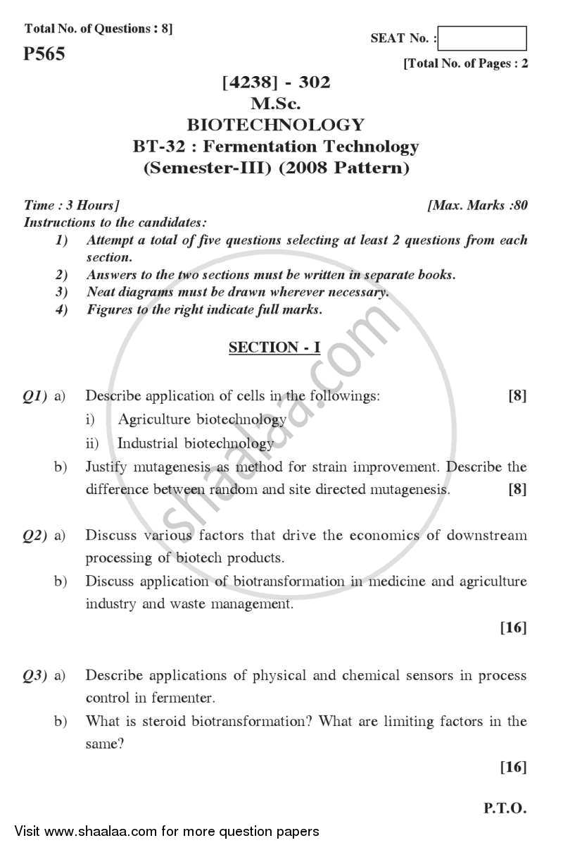 Question Paper - Fermentation Technology 2012 - 2013-M.Sc.-Semester 3 University of Pune
