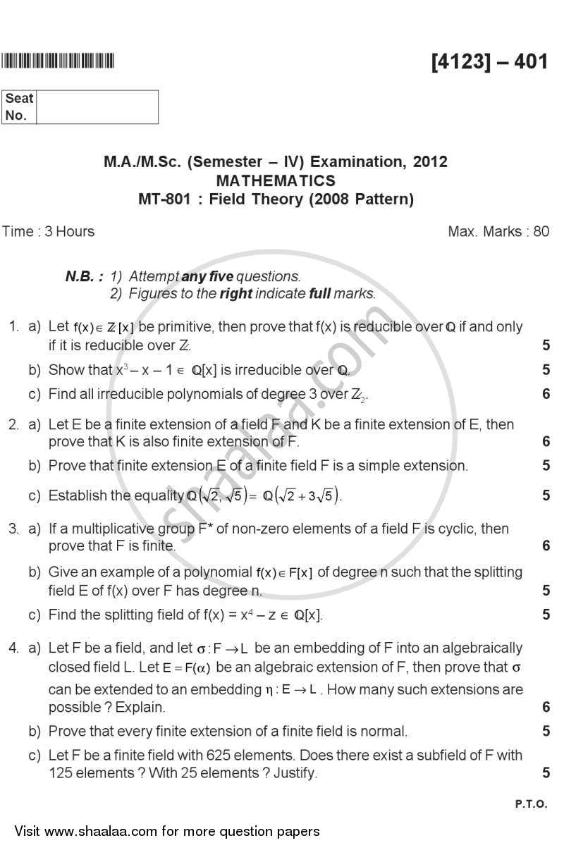 Question Paper - Field Theory 2011 - 2012 - M.Sc. - Semester 4 - University of Pune