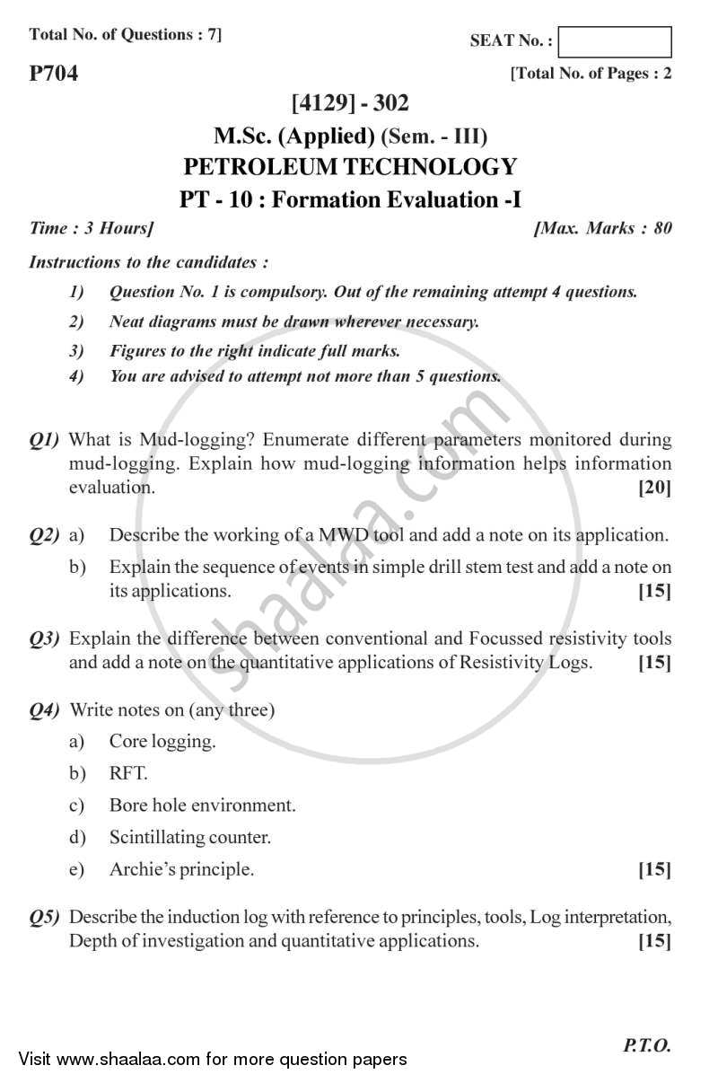 Question Paper - Formation Evaluation 1 2011 - 2012 - M.Sc. - Semester 3 - University of Pune