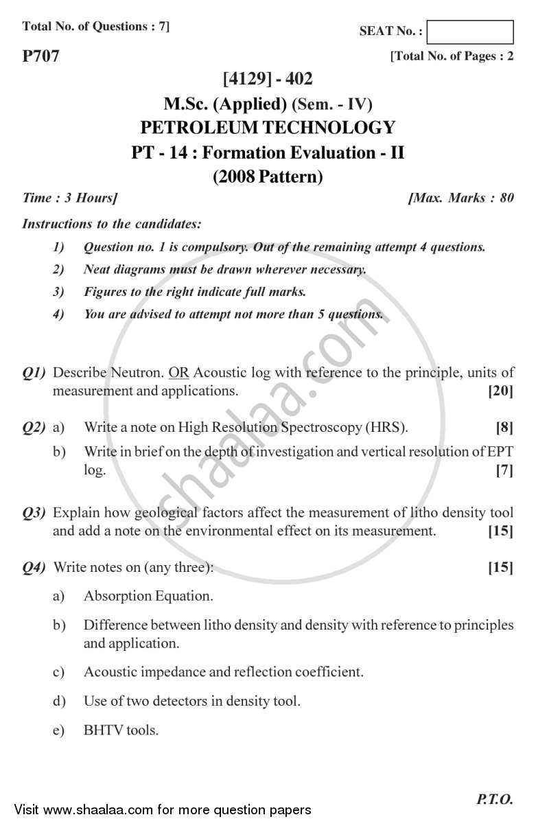 Question Paper - Formation Evaluation 2 2011 - 2012 - M.Sc. - Semester 4 - University of Pune