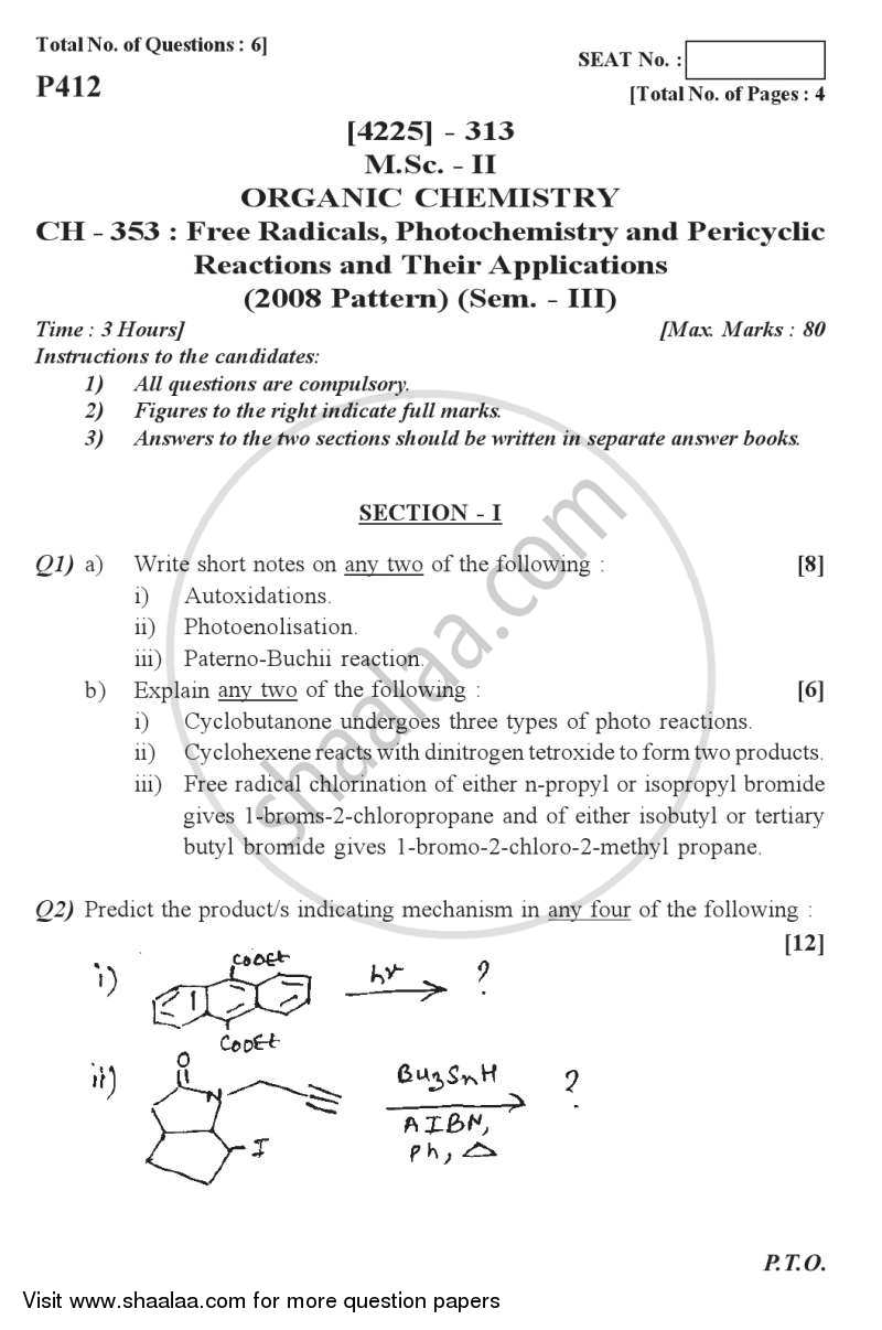 Question Paper - Free Radicals, Photochemistry Pericyclic Reactions and Their Applications 2012 - 2013 - M.Sc. - Semester 3 - University of Pune