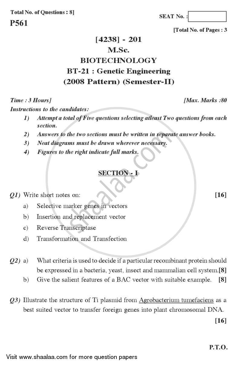 Genetic Engineering 2012-2013 M Sc Biotechnology Semester 2 question