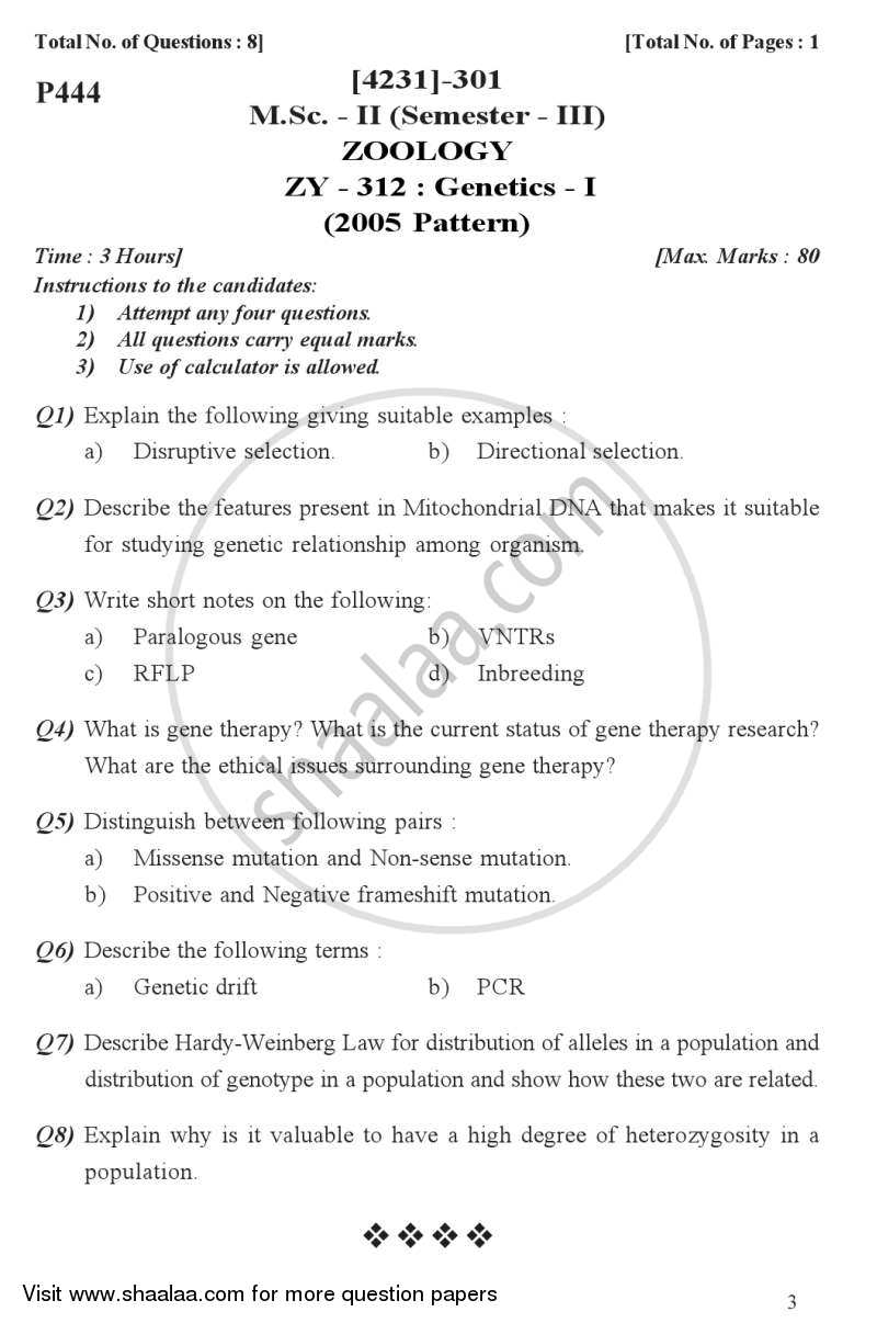 Question Paper - Genetics 1 2012 - 2013 - M.Sc. - Semester 3 - University of Pune
