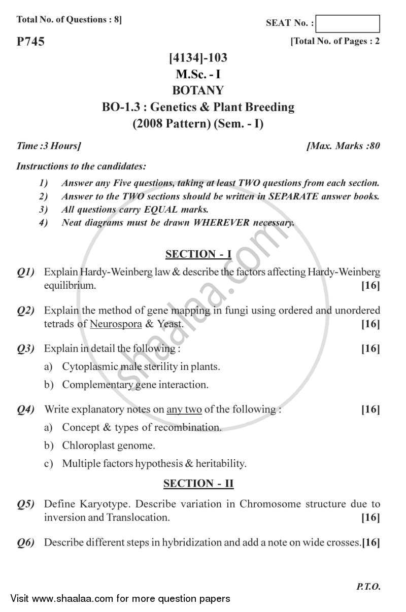 Question Paper - Genetics and Plant Breeding 2011 - 2012 - M.Sc. - Semester 1 - University of Pune