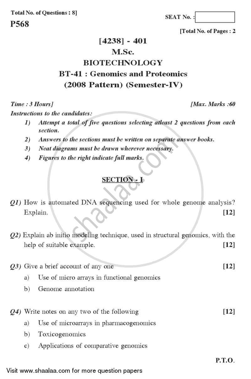 Question Paper - Genomics and Proteomics 2012 - 2013-M.Sc.-Semester 4 University of Pune