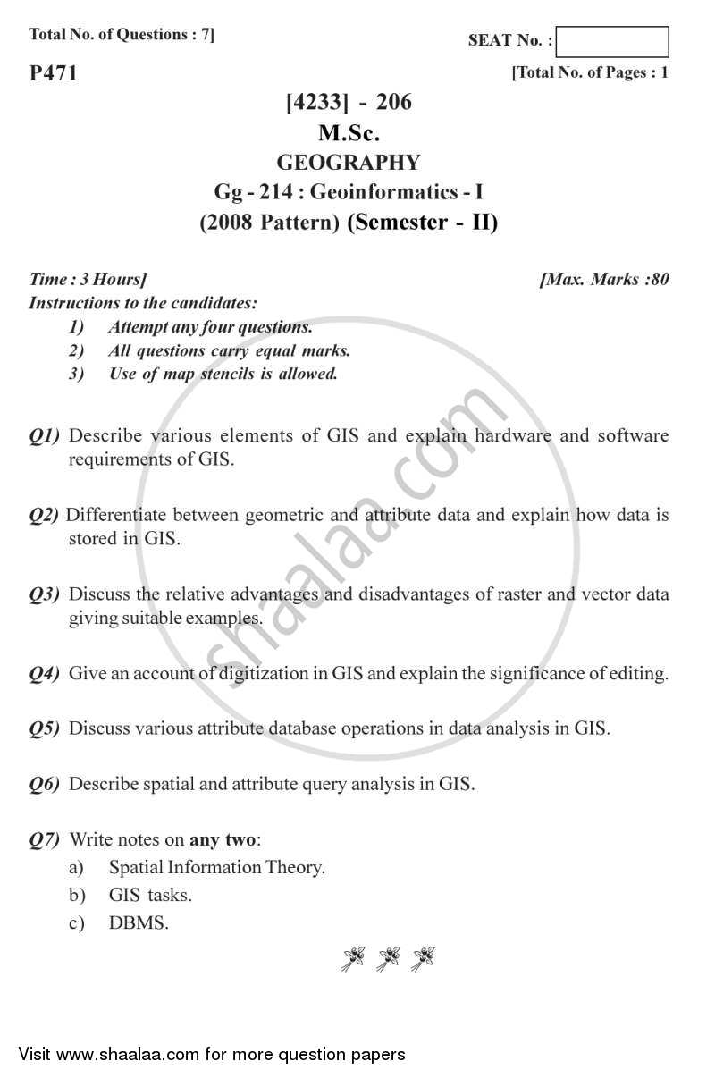 Question Paper - Geo-informatics 1 2012 - 2013 - M.Sc. - Semester 2 - University of Pune