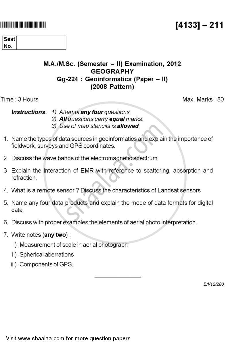 Question Paper - Geo-informatics 2 2011 - 2012 - M.Sc. - Semester 2 - University of Pune