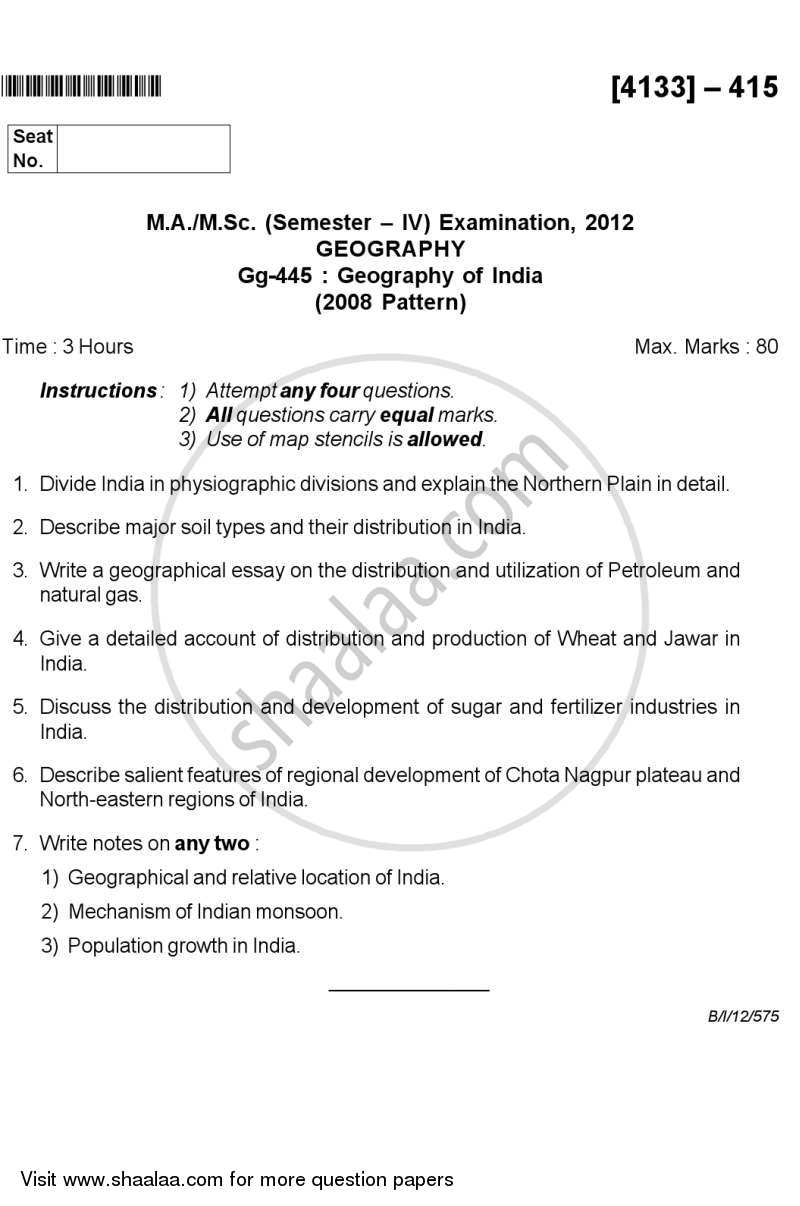 Question Paper M Sc Geography Semester 4 Geography Of India 2011