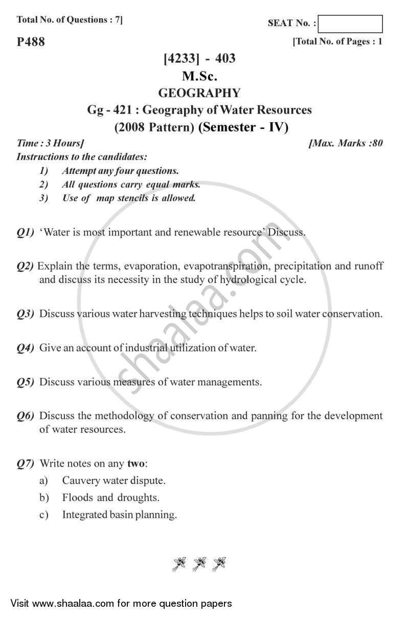 Geography of Water Resources 2012-2013 - M.Sc. - Semester 4 - University of Pune question paper with PDF download