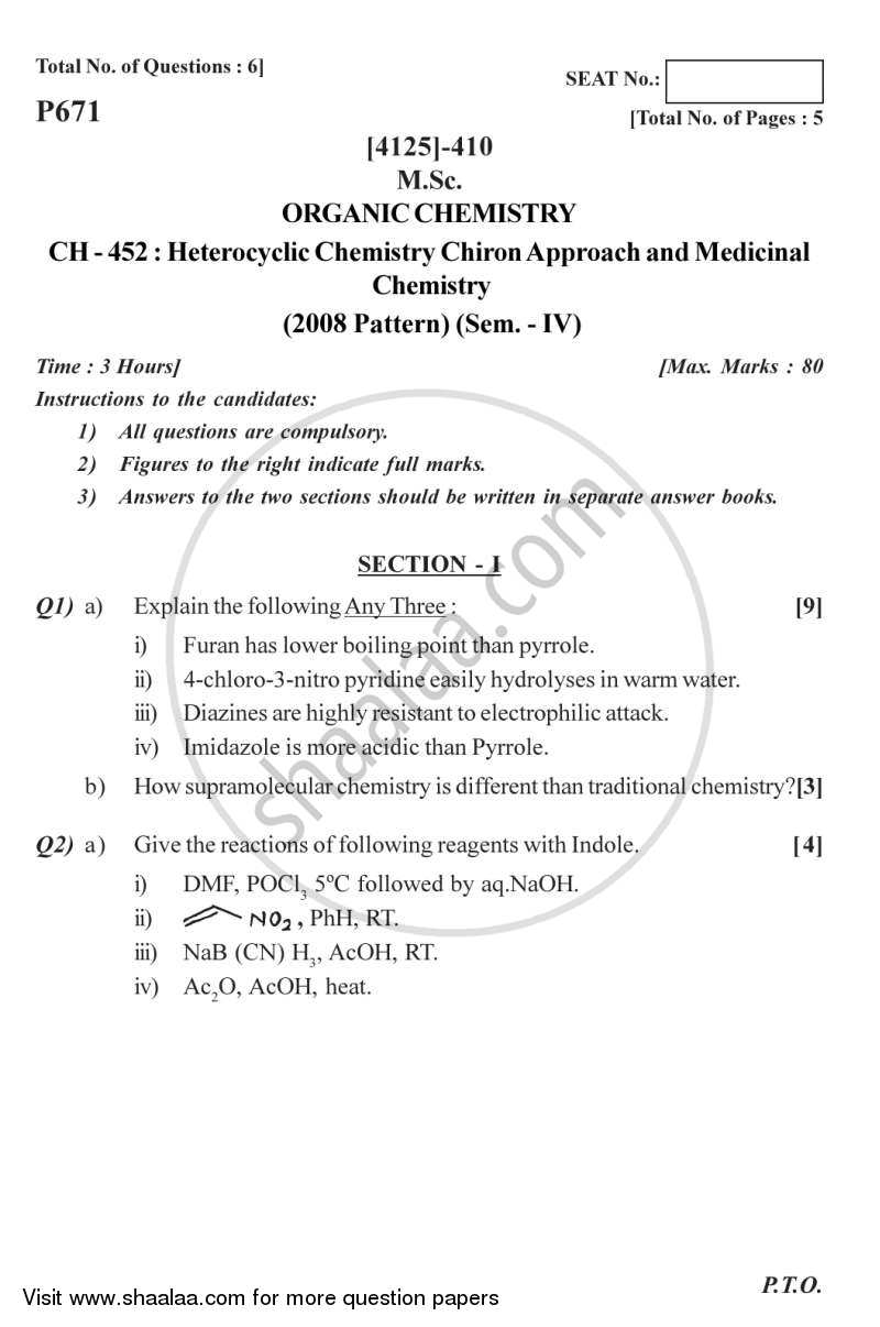 Question Paper - Heterocyclic Chemistry, Chiron Approach and Medicinal Chemistry 2011 - 2012-M.Sc.-Semester 4 University of Pune