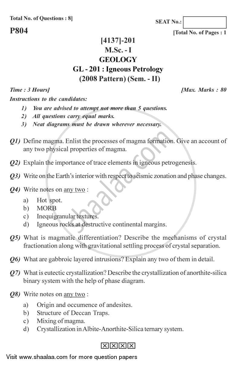 Question Paper - Igneous Petrology 2011 - 2012-M.Sc.-Semester 2 University of Pune